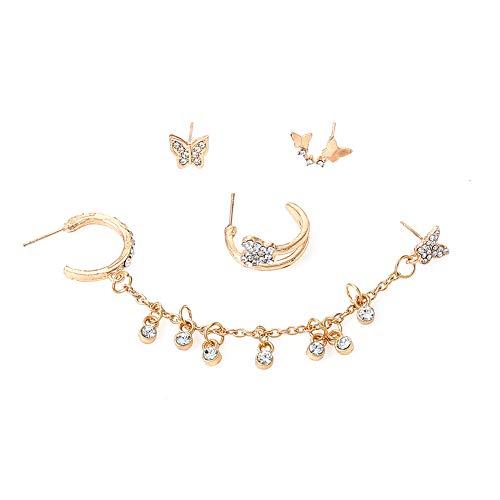 Pendientes de 4 piezas con borla de aleación de mariposa y diamantes de imitación, estilo retro europeo y americano