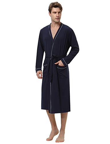 Aibrou Herren Lange Leicht Baumwolle Bademantel Einfarbiges Morgenmantel mit Gürtel Marineblau XL
