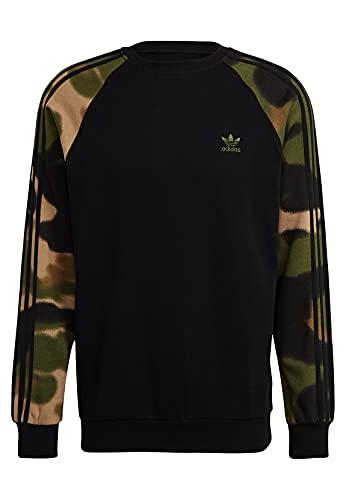 adidas GN1858 Camo Crew Pullover Mens Black/Wild Pine/Multicolor L