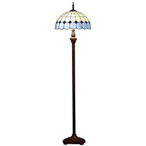 Tiffany-Art-blauw staande lamp, Middellandse Zee-kleuren-lees-vloerlicht 64 inch groot, antiek hars basis voor slaapkamer woonkamer verlichting, E27