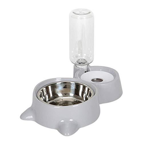 SJYM Alimentador Doble Fuente automática para Mascotas Que Bebe Agua y alimentador de Alimentos de Acero Inoxidable Diseño de Cuencos Dobles para Perros Gatos, como en la Imagen, M
