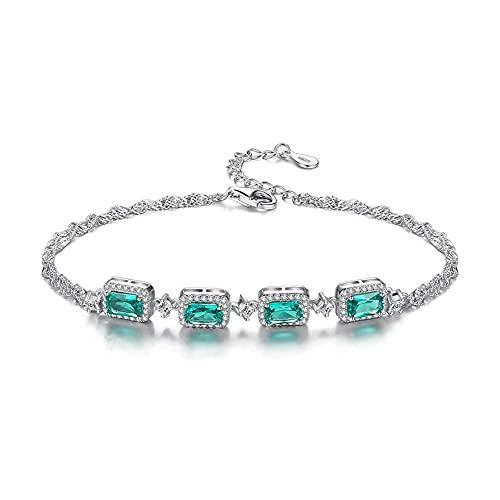 XISESAN Pulseras de plata esterlina S925 pulseras de esmeralda artificial pulseras de forma...