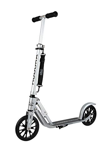 HUDORA Kinder & Jugend BigWheel, Crossover   Faltbarer Alu Big Wheel Scooter Roller 205   Höhenjustierbarer Tretroller   Kickscooter mit Reflektoren & Umhängegurt, silber