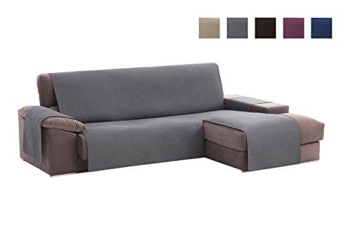 Textil-home Adele Chaiselongue Sofabezug, Beschützer für Rechtsarm Gesteppte Sofas. Größe -240cm. Farbe Grau (Vorderansicht)