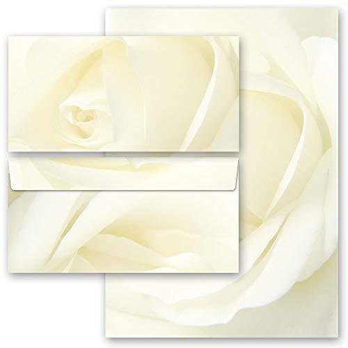 Briefpapier Set, 40 tlg. Blumenmotiv, WEISSE ROSE Blumen & Blüten, Liebe & Hochzeit 20 Blatt Briefpapier + 20 passende Briefumschläge DIN LANG ohne Fenster | Paper-Media