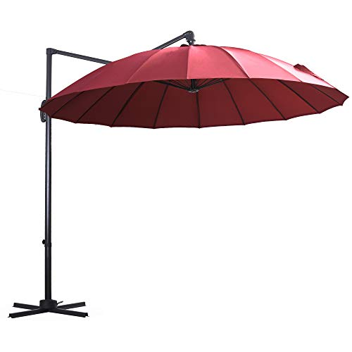 Outsunny Parasol Sombrilla de Jardín Ø300 cm de Diámetro con Manivela y Poste Giratorio 360° Techo Inclinable en 6 Posiciones Base Cruzada Incluida Rojo