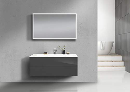 Intarbad ~ Badmöbel Set grifflos 120 cm Waschtisch Evermite, mit Unterschrank und Led Lichtspiegel Grau Matt Lack IB1486