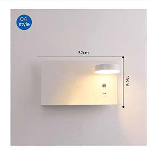 DingSORA Luces de Pared LED con Interruptor y Interfaz USB Moda Blanco Lámpara Negra Lámpara Corredor Aisle Iluminación Arte Luminaria (Tamaño : 04-b)