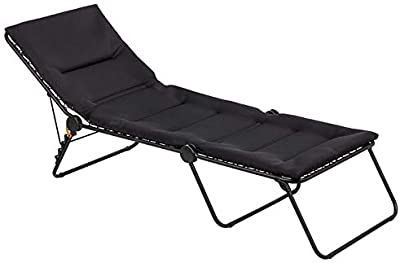 Lafuma Siesta Sunbed Aircomfort (Acier Black) Padded Pool Chaise Lounge w/ Steel tubing