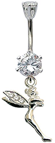 Silver tinker bell designed belly button ring with CZ crystal Clear