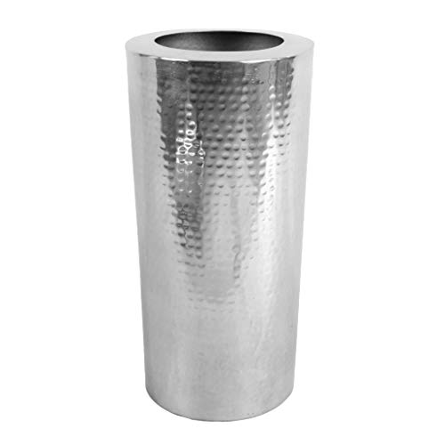 Leaf Design UK Große gehämmerte Metallvase, Silber, 15cm x 30cm