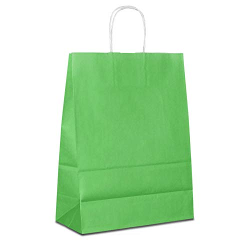 100 x Papiertüten grün 32+12x41 cm | stabile Papiertaschen farbig | Papiertragetaschen Kordelhenkel | Papiertaschen Mittel | Paper Bag | HUTNER