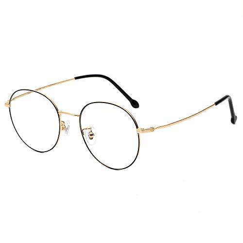 Cyxus 100% Titan Blaulichtfilter Brille, Weniger Nasendruck, 【Gesamtbreite: 142 mm】 Rund Vintage Retro Stil für PC TV Tablet Unisex