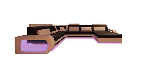 JVmoebel LEDERSOFA DESIGNER WOHNLANDSCHAFT XXL LEDERGARNITUR ECKSOFA STUTTGART, Rot/Weiß, 280x360x180 oder 180x360x280, Leder