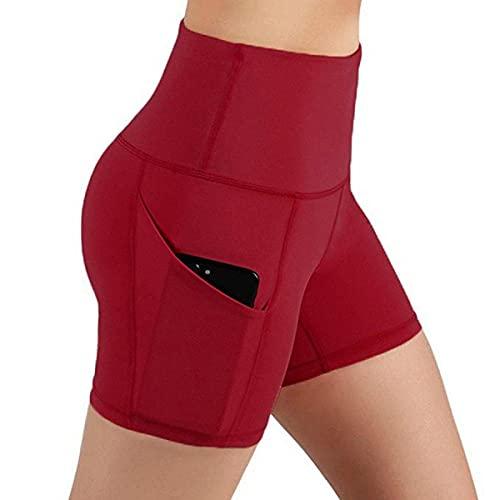 Leggings Push Up Mujer Mallas,Pestilleos de Yoga de Bolsillo de Color sólido Pantalones Cortos de Aptitud Ajustados.-Vino Tinto_Metro