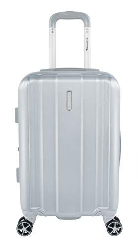 Tamaris Edition Kleiner Hartschalen Koffer, 4 Rollen Reisekoffer für Damen/Herren mit TSA-Zahlenschloss, 57,5x37x23,5 – 39L (Silber)