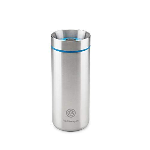 Volkswagen 33D069604 Thermobecher Trinkbecher, mit VW Logo, Silber/blau