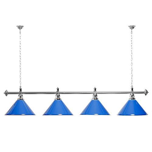Billardlampe 4 Schirme blau/Goldfarbene Halterung