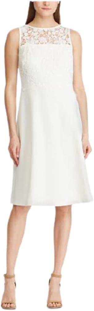 Ralph Lauren Womens Ivory Sleeveless Illusion Neckline Midi Fit + Flare Formal Dress Size 12