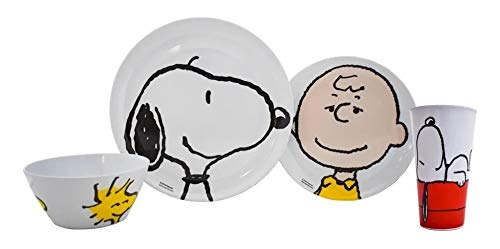 Fun Kids 1725-316/318ML Set de Vajilla Snoopy Charlie Brown de Melamina 4 Piezas