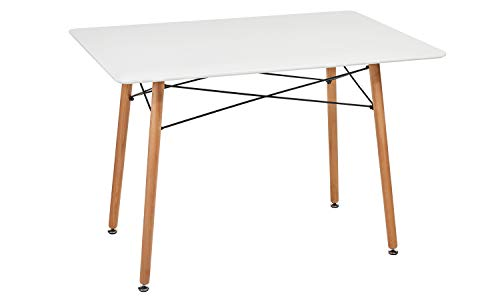 """GreenForest Dining Table Wood Top and Legs Modern Leisure Coffee Table Home and Kitchen 44""""x30"""", White"""