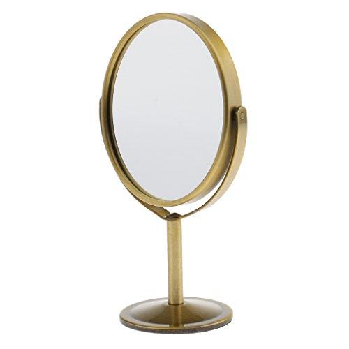 """MagiDeal 3"""" Cosmétique Miroir sur Pied Rotatif à 360 Degrés - Miroir à Double Face Normal et Grossissant pour Maquillage - Bronze"""