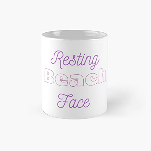 Resting Beach Face Classic Mug - Ceramic Coffee White (11 Ounce) Tea Cup Gifts For Bestie, Mom And Dad, Lover, Lgbt