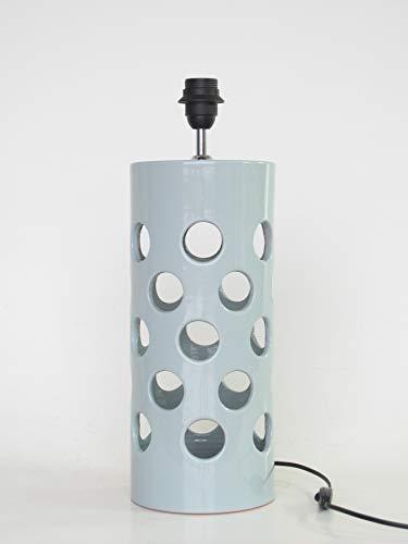 POLONIO Lámpara de Ceramica Sobremesa Grande de Salon de 40 cm Verde E27, 60 W Pie de Lámpara de Cerámica Verde Celadon