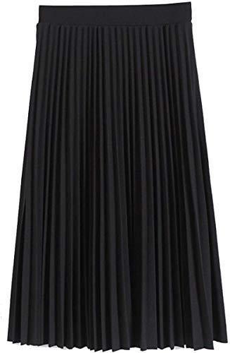 GOLDSTITCH Women's High Waist Fall and Winter A line Swing Skirt Black