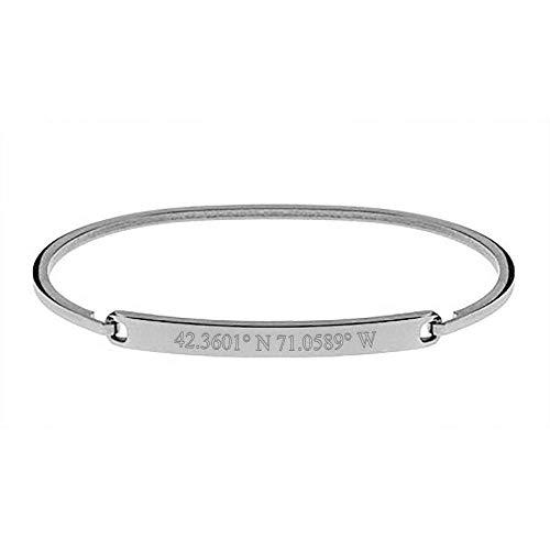 EVE'S ADDICTION Custom Coordinate Simple Thin ID Bangle Bracelet