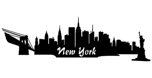 Samunshi® Wall Tattoo Wall Sticker New York Skyline Black 30 x 9 CM by plot4u
