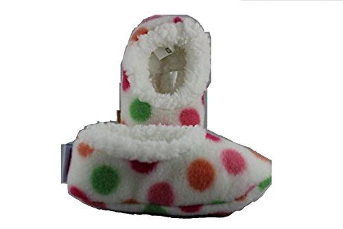 Out of the Blue - Baby Snoozies - Baby Hausschuhe, weiß mit bunten Punkten, Größe S, 0-3 Monate, Plüsch, antirutsch Sohle