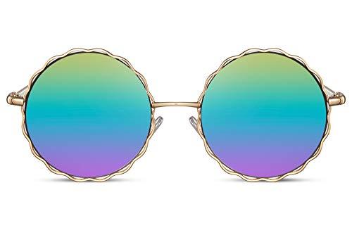 Cheapass Sonnenbrille Rund Gold Metall Hippie Festival Sonnenbrille mit Regenbogen verspiegelten Linsen für Frauen