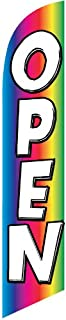 Open Rainbow Advertising Feather Banner Swooper Flag Sign with 15 Foot Flag Pole Kit and Ground Stake