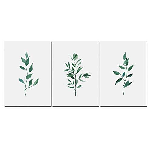 Plant aquarel groen blad mahonie schilderij Wall Art woonkamer decoratie-50x70x3cm geen Frame
