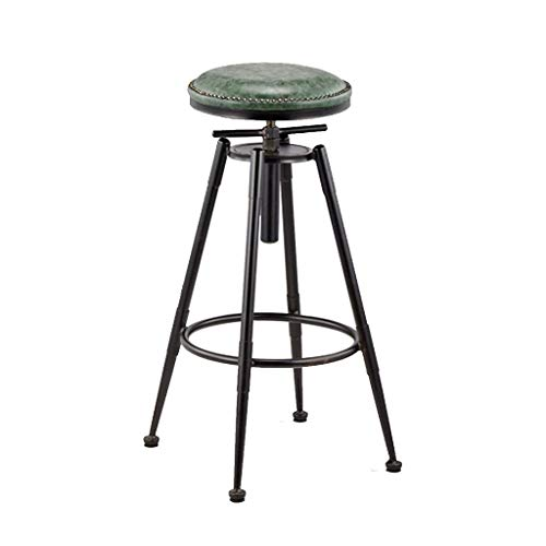 Vintage Swivel Bar Stools Faux Leather Breakfast Kitchen Pub Barstools | Counter Height Metal Stool for Bars, Bistro Patio Cafe | Best Home Garden Chairs | Indoor Outdoor Use