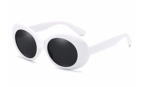 BOZEVON Retro Gafas de sol Ovaladas - UV400 de Protección Anteojos para Mujer y Hombre Blanco-Negro C1