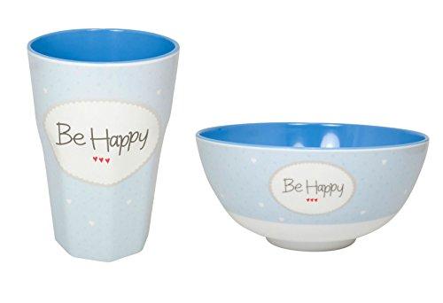 Mea Living be Happy Set de Vaisselle en mélamine Bleu 450 ML