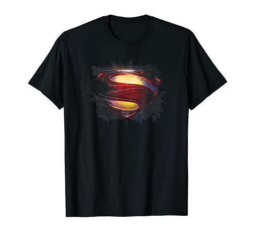 Superman Man of Steel Grungy Shield Camiseta