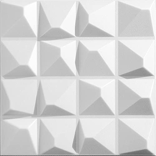 Platten 3D Polystyrol Wand Decke Paneele Wandplatten 50x50cm PYRAMIDE, 2 m², 8 Stück