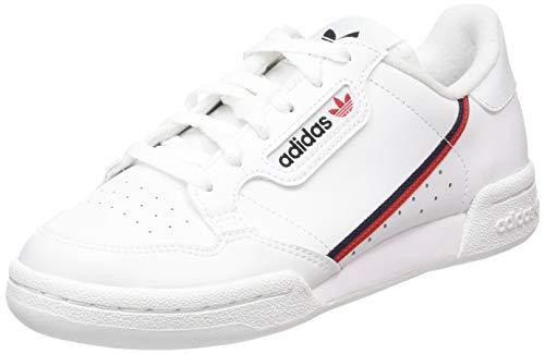 adidas Unisex-Kinder Continental 80 J Sneaker, Weiß (Footwear White/Scarlet/Collegiate Navy 0), 37 1/3 EU