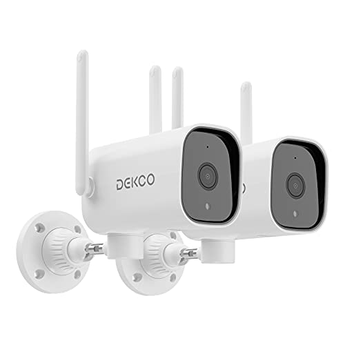 DEKCO Wireless Security Cameras,Outdoor Wi-Fi Security Camera 1080P Night Vision,Two-Way Audio,Motion Detection Alarm,IP65,Free App Control,Remotely View,Micro SD Card Storage,No Monthly Fees(2pack)