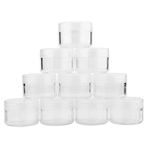 Nail Art Vide Cas 12 Types 10 Pcs Simple Boîte Vide Nail Art Cosmétique Perle Gemmes Crème Cas De Stockage Pot(15g-Transparent)
