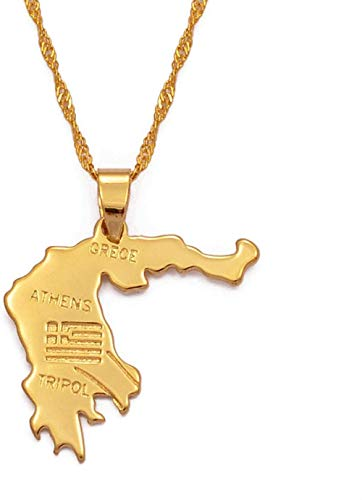 Collar con colgante de mapa de Grecia Joyas griegas doradas 006310