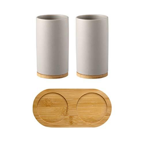 Porta Spazzolini Colluttorio Coppa Bagno Set da Cucina in Ceramica 3-Piece Bagagli Dispenser di Sapone Spazzolino Coppa Vassoio di bambù Bagno Forniture Alberghiere Lostgaming (Color : A)