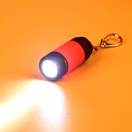 Linterna USB recargable portátil led luz linterna lámpara llavero llavero mini antorcha (Body Color : Purple)
