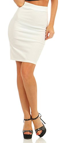 Fashion4Young 5724 Damen Rock Stretch-Rock Skirt Pencilskirt Minirock Bleistiftrock Knielang Bodycon (weiß, S-34)