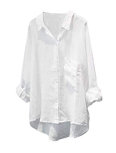 Minibee Women's Casual Cotton Linen Blouse High Low Shirt Long Sleeve Tops M-White