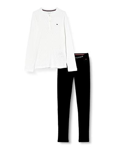 Tommy Hilfiger LS Pant Pointelle Set Juego de Pijama, Cielo Blanco/Desierto, 12/14 para Hombre