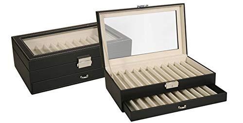 Caja EXPOSITOR de piel para PLUMAS o BOLÍGRAFOS con capacidad de 24 unidades y con cierre de seguridad. Color Negro. Dakota. 1 unidad